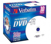Диск DVD-R Verbatim 4.7Gb 16x Jewel case (1шт) Printable (43521)