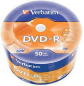 Диск DVD-R Verbatim 4.7Gb 16x Cake Box (50шт) (43788)