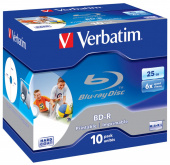 Диск BD-R Verbatim 25Gb 6x Jewel case (10шт) Printable Scratch proof (43713)